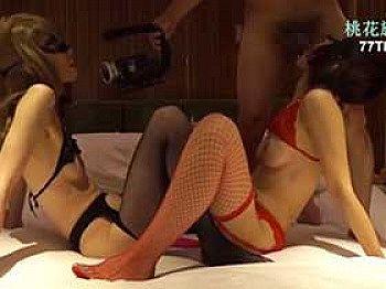 【無修正 素人】 仮面を付けた二人の淫乱熟女と濃厚な変態セックス!