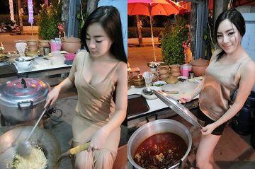 【画像】女さん、ドスケべポ-ズで料理をしてしまうwwww