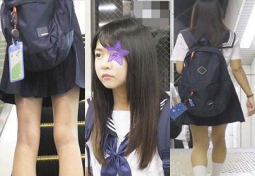 ‹電車チカン›清楚アイドル系でカワイイ制服美少女を逆さ撮り&手マンレ●プ!