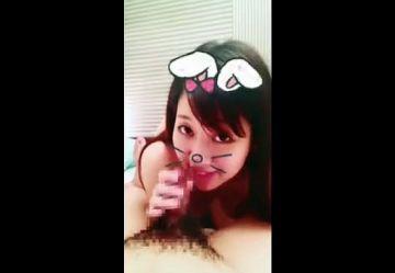 ‹無・個撮›童顔スレンダー美乳の女子大生がスマホアプリ『SNOW』でウサ耳付けてフェラチオご奉仕w