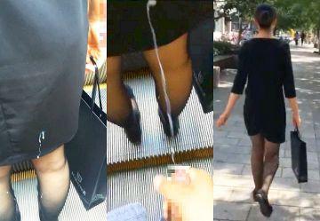 ‹閲覧注意›黒パンストの美脚お姉さんに精液を後ろからぶっかけストーカー行為する男がコチラ…