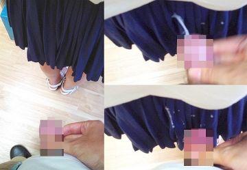 ‹閲覧注意›立ち読みする女子学生の制服スカートに後ろから精液をぶっかけ…