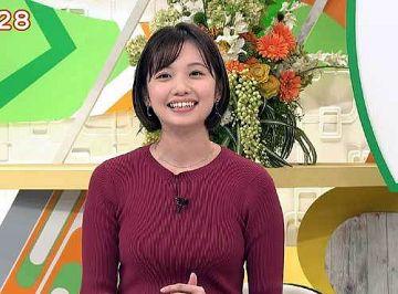 田中瞳アナ、ニット巨乳オッパイで視聴者が大興奮するエロ乳