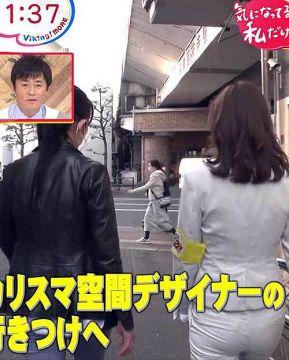 久慈暁子アナ、白パンからパン線クッキリ丸見えのお尻の割れ目