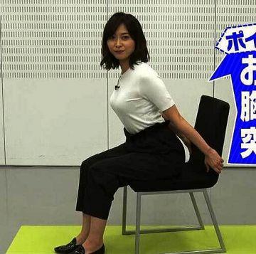 久冨慶子アナ、オッパイ突き出す白ニットの乳房がエロいんです
