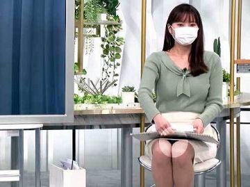 角谷暁子アナ、パンチラ!スカートの中がドアップで丸見え状態の股間