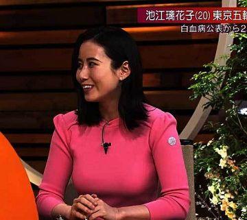 森川夕貴アナ、爆乳オッパイが透けてるピンク色ニットのおっぱいステーション