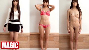 日本人美女厳選着衣脱衣全裸比較!一糸纏わぬフルヌード女体観察で女子の恥部をじっくり視姦