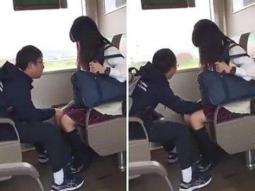 【スマホ盗撮】電車内で女子高生が障害者に手マンされてるいる衝撃痴漢現場