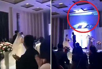 【動画あり】これは地獄www結婚式で花嫁の浮気SEX動画が突然スクリーンに映し出される