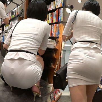 スカートの生地が薄過ぎたのかパンツが透けまくりな素人娘たちを街撮り