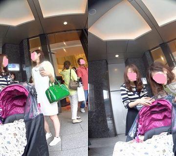 【逆さ撮り】スカートにまで気をまわしてる暇がない子連れママさん達を逆さ撮りしたパンチラ画像