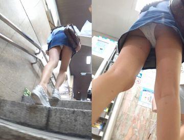 ミニスカ女子が階段・エスカレーター上ってたから見上げたら見えたパンチラ画像