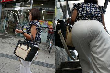 街中にいる女性のお尻を眺めてたら透けパンチラしてたから慌てて撮影したエロ画像