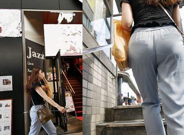 階段・エスカレーターで目の前にいる女性のお尻を見つめたら見える透けパンチラ画像