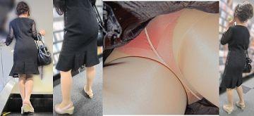 【逆さ撮り】パンストから透けて見えるパンツってなぜか卑猥に見える