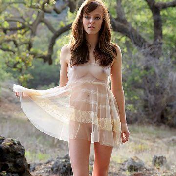 ほぼハダカ、だけど全裸よりエロいw透け透けの服着て自然の中で佇む女神のような美女www # 外人エロ画像